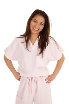 Free Woman Scrubs Smile Stand Stock Photography - 20100972