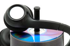 Free Stack Of DVDs With Headphones Stock Images - 20101434