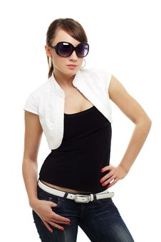 Free Young Woman Wearing Sunglasses Royalty Free Stock Photography - 20101697