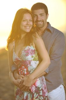 Happy Young Couple Have Romantic Time On Beach Royalty Free Stock Photos