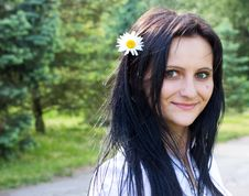 Beautiful Smiling Woman With Flower Stock Photography