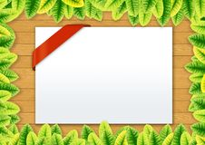 Free Blank Paper On Wood And Green Leaves Stock Photo - 20105770