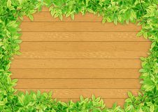 Free Green Leaves On Wood Stock Image - 20105821