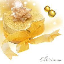 Free Gold Present And Bubbles Royalty Free Stock Photos - 20106438