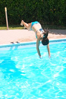 Free Woman Jumping To Swimming Pool Royalty Free Stock Photo - 20106545