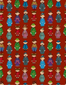 Free Cartoon Chinese People Seamlese Pattern Royalty Free Stock Photos - 20106668