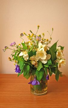 Wild Flowers Bouquet In A Glass Stock Image
