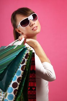 Free Stylish Girl With Shopping Bags Stock Images - 20107374