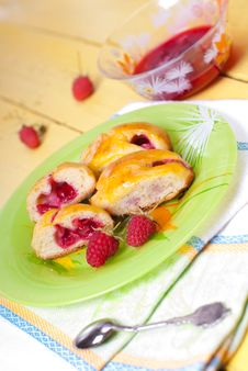 Pastry With Raspberry Royalty Free Stock Photography