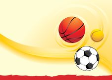 Free Sporting Balls On The Yellow Background Royalty Free Stock Image - 20107976