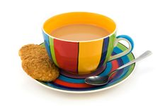 Free Stripy Cup And Saucer & Biscuits Isolated On White Royalty Free Stock Photography - 20107997
