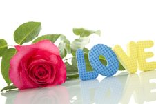 Red Rose And The Text Of LOVE Stock Images