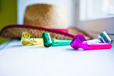 Free Party Whistle With Hat Royalty Free Stock Photography - 20109557