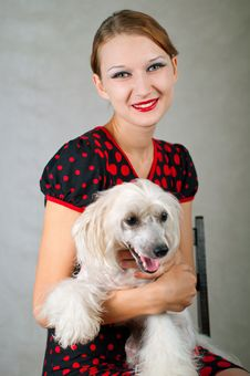 Girl And Chinese Crested Dog Stock Photography