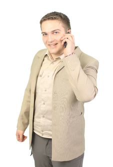 Free Young Smiling Businessman Calling Royalty Free Stock Images - 20109879