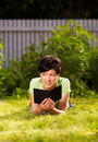 Free Reading E-book In The Park Royalty Free Stock Photography - 20116407