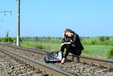 Free Railway Girl Stock Photography - 20113262