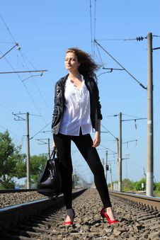 Free Railway Girl Royalty Free Stock Photography - 20113427