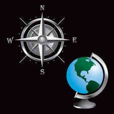 Globe And Compass Royalty Free Stock Image