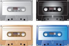 Cassette Tapes In Various Colors Stock Photos