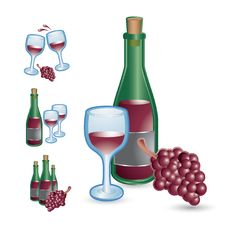 Free Wine Glasses, Bottles, And Grapes Royalty Free Stock Images - 20115059