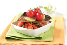Free Pan Fried Trout  And Mixed Vegetables Royalty Free Stock Image - 20115236