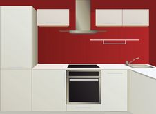 Free White And Red Kitchen With Household Appliances Royalty Free Stock Images - 20115569