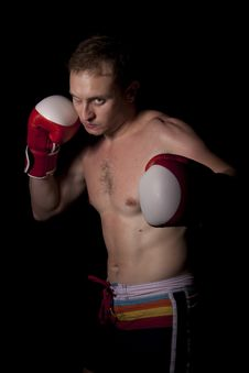 Free Young Boxer Over Black Background Stock Photography - 20115662