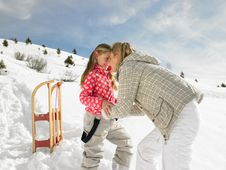 Free Young Mother And Daughter On Winter Vacation Stock Photos - 20115743