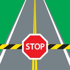 Barrier And Traffic Sign STOP Stock Photography