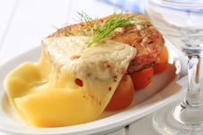 Free Marinated Chicken Topped With Swiss Cheese Royalty Free Stock Photo - 20117245