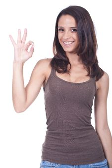 Free Woman Doing Ok Sign Stock Image - 20117331