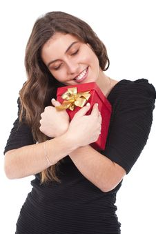Woman Holding A Red Gift Box Stock Image