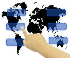 Free Hand Pressing Touchscreen World Wide Royalty Free Stock Photo - 20118585