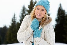 Free Young Woman  In Alpine Snow Scene Stock Photo - 20118590