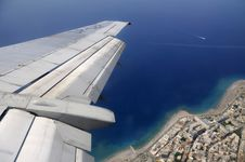 Island Resort Through Window Of An Aircraft Stock Photo