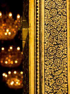 Art Of Thai Temple Door Stock Photo