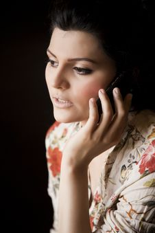 Free Attractive Girl Talking Over The Cell Phone. Royalty Free Stock Photo - 20121795