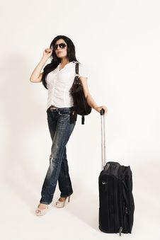 Free Glamorous Indian Girl Leaving For Journey Stock Photos - 20122233