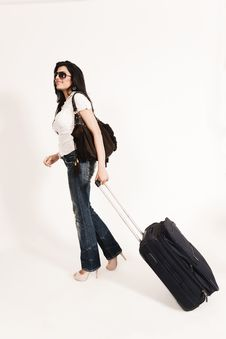 Free Glamorous Indian Girl Leaving For Journey Stock Photography - 20122262