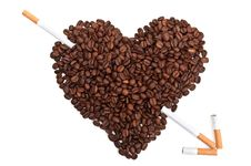 Coffee Beans In The Shape Of The Heart Stock Images