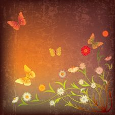 Free Abstract Illustration With Flowers And Butterfly Royalty Free Stock Images - 20123319