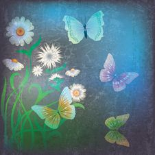 Abstract Illustration With Flowers And Butterfly Royalty Free Stock Photo