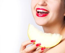 Free Smiling Woman With Melon Stock Photography - 20123662