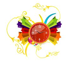Free Red Clock On The Stars Royalty Free Stock Image - 20123926