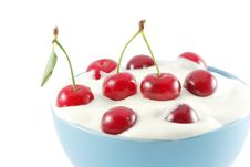 Cherries In Cream Royalty Free Stock Photo