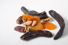 Free Fruits Nuts Carob Dat Dried Apricots Almond Spice Stock Photo - 20126650