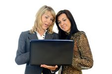 Women With A Laptop Stock Images