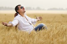 Free Man In Field Royalty Free Stock Image - 20127496