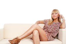 Free Cute Girl Dreaming Stock Image - 20128991